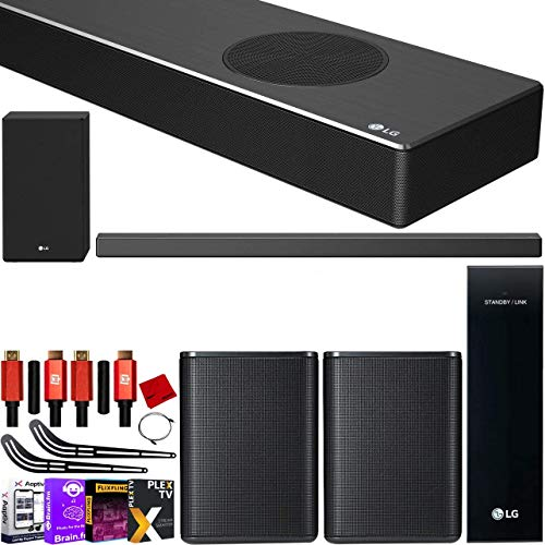 LG SN9YG 7.1.2 ch Full Surround Sound Wireless Expansion 660W Bundle 5.1.2 High Res Sound Bar with Dolby Atmos + 2.0 ch SPK8-S Rear Speaker Kit + Subwoofer + 2X Deco Gear HDMI Cable + Mount & More