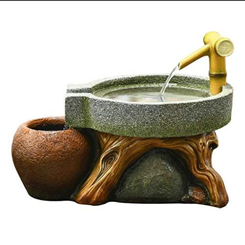 Pequeña Fuente de Escritorio Fuente de interior molino de piedra de bambú fuente de escritorio de estar Oficina de decoración de interior fuente de escritorio regalo de la novedad del tanque de peces