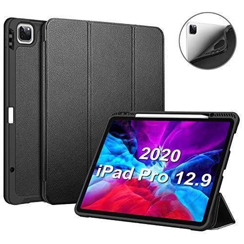 """Fintie Hülle für iPad Pro 12.9\"""" 2020 mit Stifthalter, Ultra licht Soft TPU Rückseite Abdeckung Schutzhülle Auto Sleep/Wake für iPad Pro 12,9 Zoll (4. und 3. Generation, 2020/2018) (*Schwarz)"""
