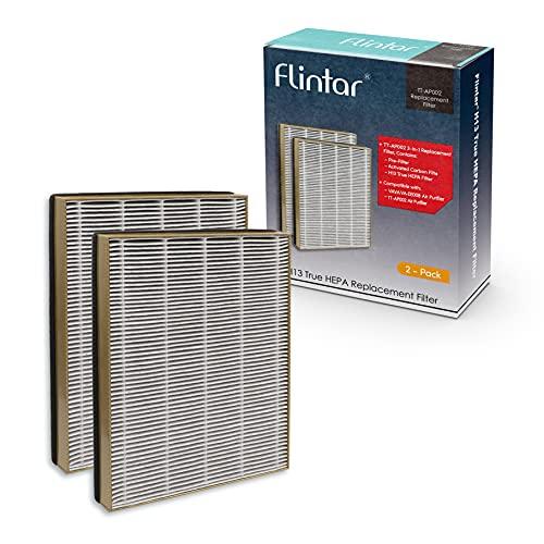 Flintar True HEPA Replacement Filter, Compatible with TaoTronics TT-AP002 Air Purifier and VAVA VA-EE008 Air Purifier, 3-in-1 Premium H13 Grade True HEPA Filter, 2-Pack (2)