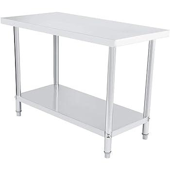 Mesa de trabajo profesional de acero inoxidable, doble capa altura ajustable Catering mesa de trabajo aparador de plata para cocina y operaciones industriales 122X61CM gris: Amazon.es: Hogar