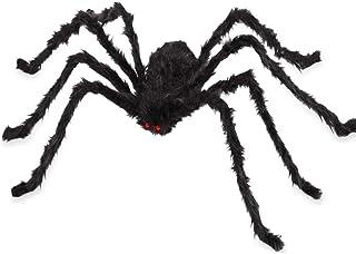 VENTIGA 7 أقدام / 79 بوصة أسود عملاق شعر عنكبوت هالوين ديكورات في الهواء الطلق ساحة ديكور ، عيون حمراء حية مع أرجل قابلة للطي