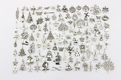 100 Stück gemischte DIY Anhänger Charms zum Basteln, Weihnachten Thema Armband, Halskette, Schmuck Herstellung, Weihnachtsbaumschmuck Zubehör