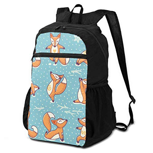 JOCHUAN Ultralight Travel Daypack Fox Yoga Cute Funny Animal Packable Daypack for Travel Foldable Travel Daypack Lightweight Waterproof for Men & Womentravel Camping Outdoor