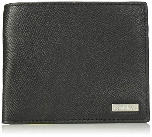 Calvin Klein Men's Textured Leather Slimfold Wallet, black, One Size