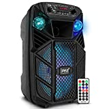 """Portable Bluetooth PA Speaker System - 300W Rechargeable Outdoor Bluetooth Speaker Portable PA System w/ 8"""" Subwoofer 1"""" Tweeter, Microphone in, Party Lights, MP3/USB, Radio, Remote - Pyle PPHP838B"""