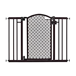 """Summer Modern Home Decorative Walk-Thru Baby Gate, Metal with Bronze Finish, Decorative Arched Doorway – 30"""" Tall, Fits Openings up to 28"""" to 42"""" Wide, Baby and Pet Gate for Doorways and Stairways"""