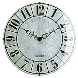 ぼん家具 壁掛け時計 アナログ 丸型 時計 掛け時計 ウォールクロック 秒針なし おしゃれ ブラック
