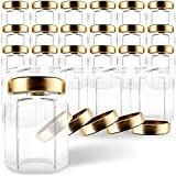 GoJars Tarros de cristal hexagonales de 177ml de calidad , mini tarros con tapas para regalos, recuerdos de boda, productos alimentarios, miel, mermeladas y más. (24, 177ml)