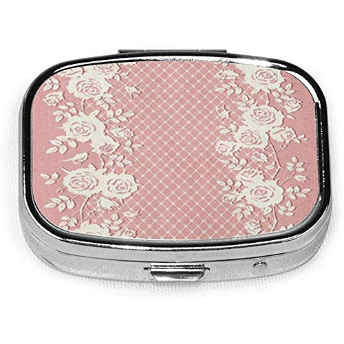 Lace Roses Leaves Pink Flower Case Portable Mini Container Organizer with 2 Compartments Square Pill Box
