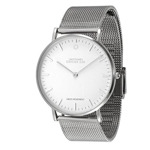 DAYE/TURNER KEPLER 22B Orologio da polso unisex svizzero orologio da polso Ronda quadrante bianco cinturino in rete argento