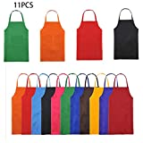 Trebien Total 11 Pcs Babero Delantal de Color Liso Para Mujeres Adultas o...