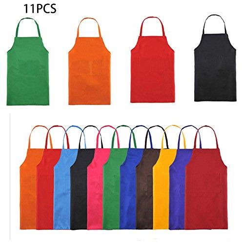 Trebien Total 11Pcs Babero Delantal de Color Liso Para Mujeres Adultas o Unisex Durable y Cómodo con Bolsillo Frontal Lavable para Cocineros y Horneros