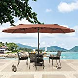 PatioFestival 15F Patio Umbrella Outdoor Double-Side Garden Table Umbrella Non-Fading Top with Crank Open and Close System for Lawn,Deck,Backyard and Pool