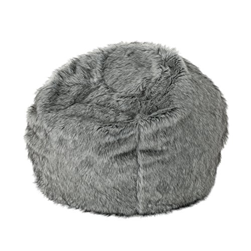 Christopher Knight Home Glendon Modern 3 Foot Faux Fur Bean Bag, Dark Gray and Light Gray