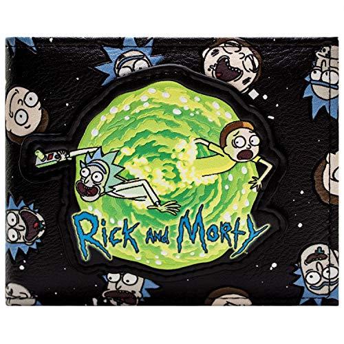 Cartera de Rick and Morty Tiempo Portal de Viajes Pistola Negro