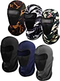 6 Pieces Balaclava Face Mask Motorcycle Mask Windproof Camouflage Fishing Cap Face Cover for Sun Dust Protection (Camouflage x 3, Black, Navy Blue, Dark Grey)