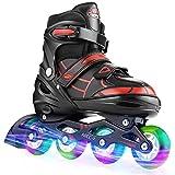 Hikole patines en línea para niñas y niños patines 4 ruedas ajustable con luz tamaño 30-41 per niños y adulto(l,38-41)