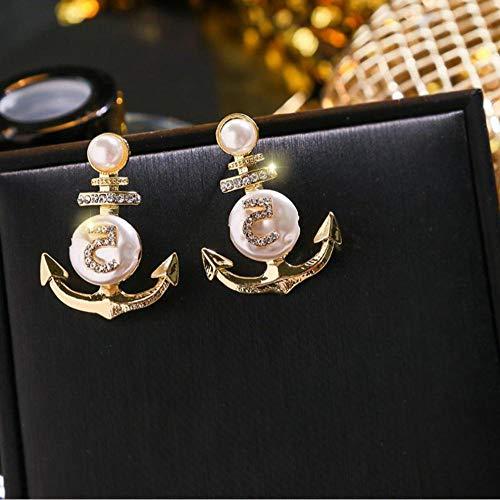 Vvff Joyería Colgante Declaración Pendientes De Oro Perla Ancla 5 Pendientes Grandes Para Mujer Regalo Del Día De San Valentín