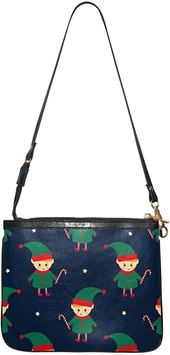 InterestPrint Soft Lightweight PU Leather Bag Crossbody Purse with Strap Over the Shoulder Christmas Deers