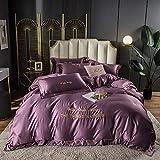 juego de fundas de edredón y de almohada de microfibra,Lavar las hojas de seda de Tweet se colocaron en una cama de cuatro piezas de cama de color sólido simple-cama y desayuno_1,5 m de cama (4 pieza
