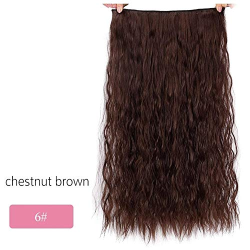 ERLIZHINIAN Mesdames Perruque de Mode Longue Clips dans Extension de Cheveux synthétiques Cheveux naturels Vague Noir Blond Marron Rouge 22 (Color : 6, Stretched Length : 22inches)