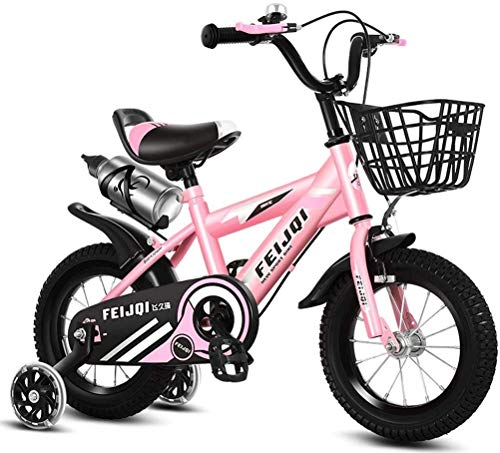 HCMNME Durable Bicycle 2020 New Mountain Bike for Kids, Boys Girls Sporty Bicycle with Training Wheels and Basket, High-Carbon Steel 12 14 16 18 Inch Child Bike for 2-12 Years Old,Pink,16inch Al