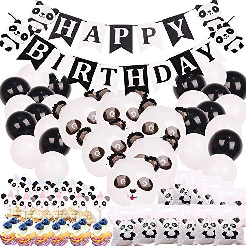 Panda Party Decorations Supplies - Pancarta de feliz cumpleaños con globos de Mylar, decoración de pasteles y bolsas de regalo para decoración de baby shower de oso panda