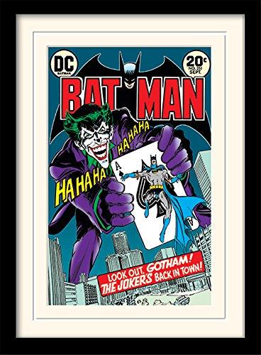 Batman 30 x 40 cm Joker en la Ciudad montado y impresión enmarcada