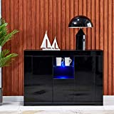 nozama High Gloss Sideboard Storage Cabinet LED Storage Cupboard with 2 Doors 1 Drawer White Cabinet Cupboard with 16 Colored LED Strips Living Room Storage Sideboard Cabinet (Black)