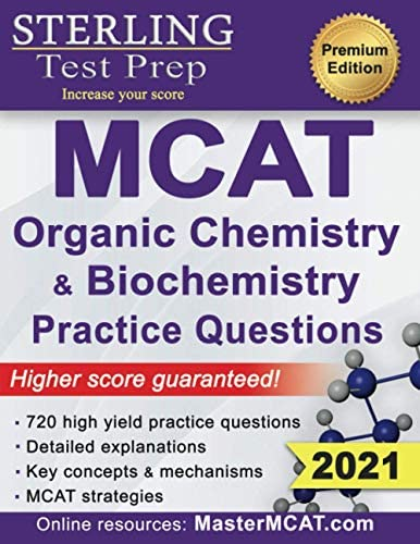 Sterling Test Prep MCAT Organic Chemistry Biochemistry Practice Questions High Yield MCAT Practice product image