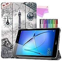 Billionn Huawei MatePad T8(kobe2-L03 / KOB2-L09)タブレット用フォリオ3つ折りスタンドスマートケース[超薄型] [超軽量]、エッフェル塔