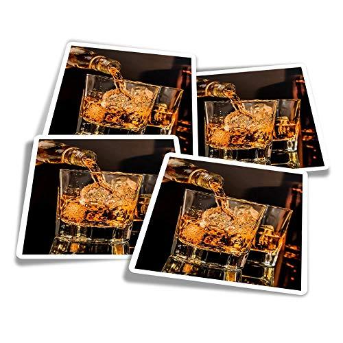 Pegatinas de vinilo (juego de 4) 10 cm – Vasos de whisky bebida whisky alcohol divertidos adhesivos para ordenadores portátiles, tabletas, equipaje, reserva de chatarra, frigoríficos #16205