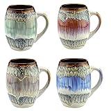 Mug Glazed Ceramic Coffee and Tea Cup with Handle - Gorgeous Artistic Unique Design Coffee Mugs 20 oz (Set of 4 Assorted Colors)
