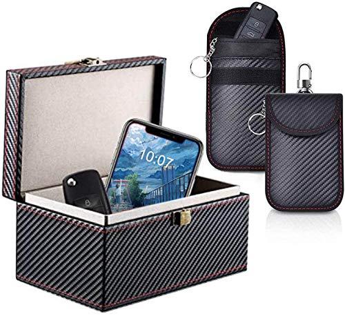 Caja Faraday Funda de Bloqueo de señal antirrobo+ 2 Bolsa Faraday para Llave Coche, Bloqueo de Señal Radio Protectora de Coche -100% Protección Bolsas RFID