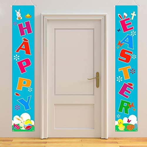 HOWAF Ostern Tür Banner für Frohe Ostern Dekoration, Bunte Ostern Banner für Ostern Wand Tür Dekoration, für Ostern Willkommen Veranda Schilder Requisiten Dekor, Osterei Hase Küken Karotte