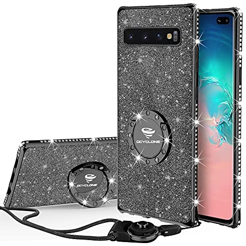 OCYCLONE Samsung Galaxy S10 Plus Hülle, Glitzer Diamant Handyhülle mit Trageband & Handy Ring Ständer Schutzhülle für Galaxy S10 Plus Handy Hülle für Mädchen Frauen, 6.4 Zoll -Schwarz