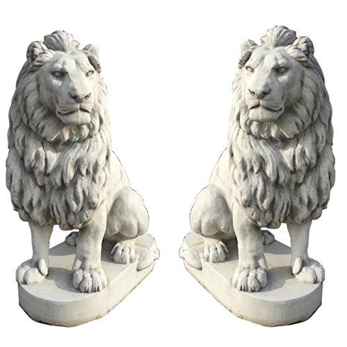 Antikes Wohndesign XXXL Löwe Löwen Tierfigur Torwächter Türwächter Steinfigur Steinskulptur Garten rechts und Links