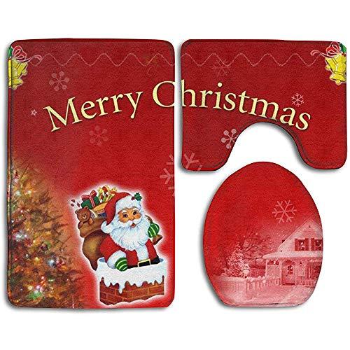 qinzuisp Doormat Der Weihnachtsmann Im Schornstein rutschfeste Badteppichmatten Set 3-Teilig Druck Toilettensitzbezug + Teppiche + Konturmatte