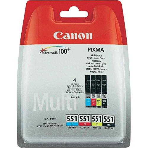 Canon CLI551 - 4 Cartuchos Multipack de tinta original para Impresora de Inyeccion de tinta Pixma, multicolor