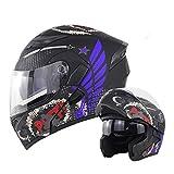 RITA FLY SHOP バイクヘルメット システムヘルメット フリップアップヘルメット 多色 人気商品 男女兼用 SOMAN ダブルシールド フルフェイスヘルメット オートバイ PSC規格品 (A8, M)