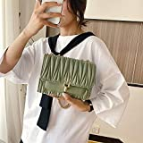 Bolsos de hombro Bolsos cuadrados pequeños para mujeres Bolso de hombro de mujer Bolso demensajero con hebilla de color sólido Pu Bolso cuadrado pequeño-Green_M