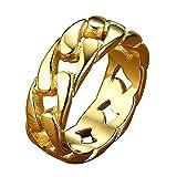 Fearless 指輪メンズレディースチタンリングファッション幅広7ミリメートルアクセサリー(ゴルード、14)