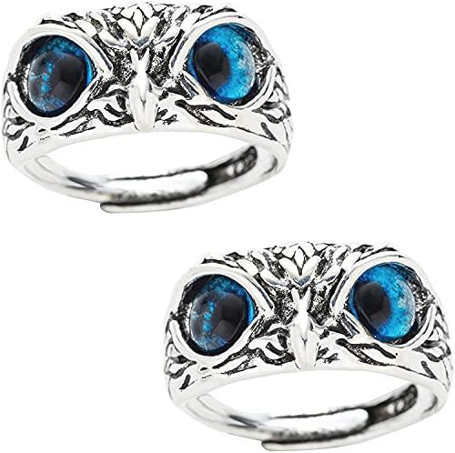 Anello regolabile in argento Sterling 925 con occhio di demonio, anello vintage, per donne e ragazze, stile retrò animale aperto regolabile -B