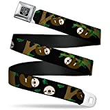 Buckle-Down Seatbelt Belt - Sloth Face/Hanging Black - 1.0' Wide - 20-36 Inches in Length