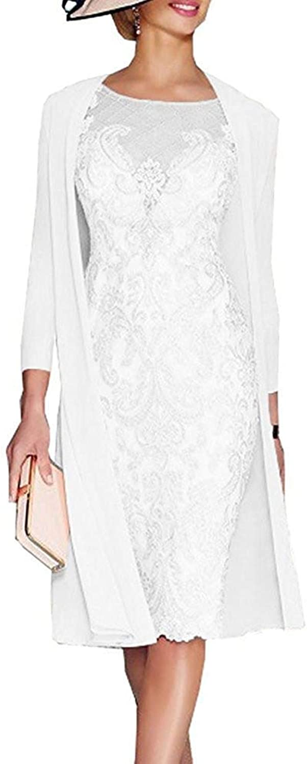 ANFF Women's Long Sleeves Sexy Lace Mother of The Bride Evening Dress with Jacket