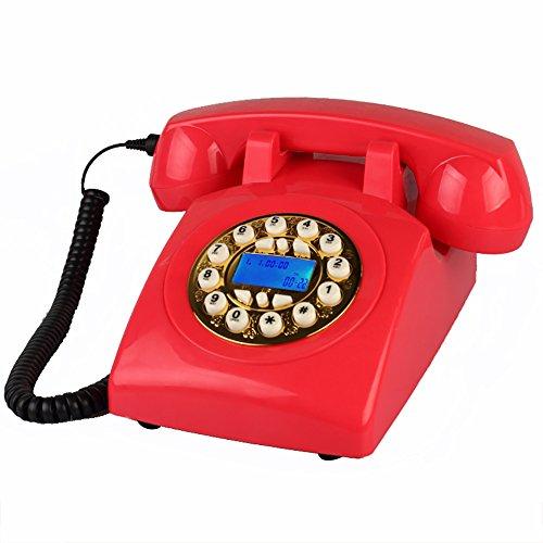 YSNUK Diseñador de teléfono Retro/rotativo telefónico/Retro Estilo de teléfono/Vintage teléfono/Escritorio clásico Teléfono rotatorio (Color : Gold Button)