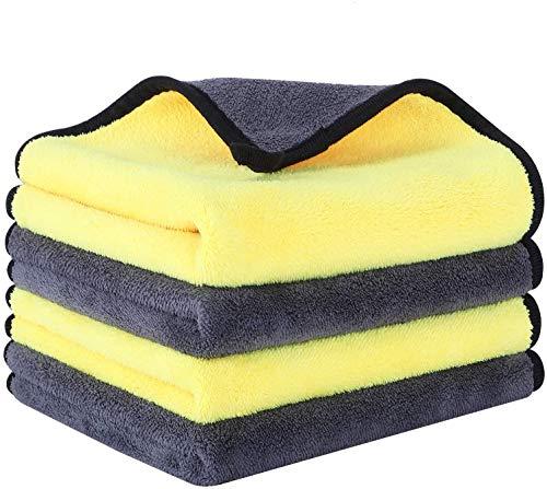2pcCar Wash Toalla de microfibra de felpa de secado de coche toalla de lavado de coche toalla de coche felpa poliéster paño de limpieza esponjas paños cepillos