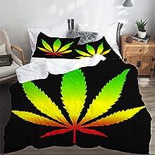 LASINSU Funda De Edredón,Hoja de Marihuana Reggae Verde con Colores rastafaris Púrpura Rasta Ganja Jamaica 420,3 Pcs Ropa de Cama Funda Nórdica Sábana Bajera (200 * 200CM)