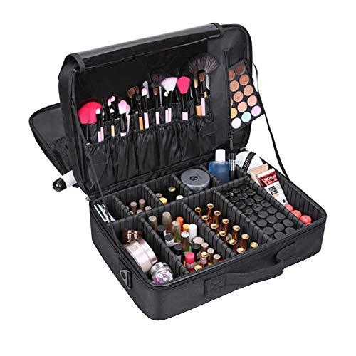 Rosennie Portable Travel Kosmetiktasche, 3 Schichten Wasserdichte Make-Up Tasche tragbare Reise Make up Taschen Bürsten Beutel Reise Kosmetik Kosmetikkoffer Schminkkoffer(Schwarz)